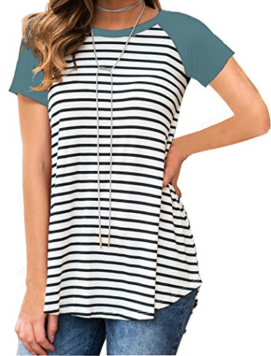 Halife Long Summer Shirts for Women Striped Raglan Short Sleeve Casual Green M (Striped Long T-shirt)