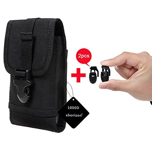 xhorizon(TM)MW8 1000D NylonArmee Camo TouchDienstTactical MOLLE UniversalMultifunktionsgürteltasche Holster für Multi Handy Modell[ Schwarz] + 2 Schnürsenkel Schnalle