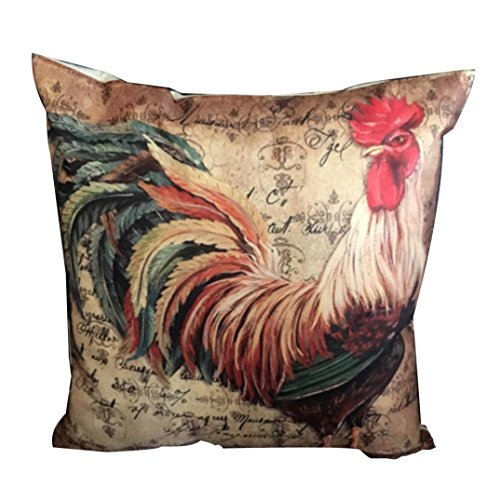 Kimloog Retro Style Chicken Rooster Linen Throw Cushion Cover The Good Life Decoration Pillow Case (A)