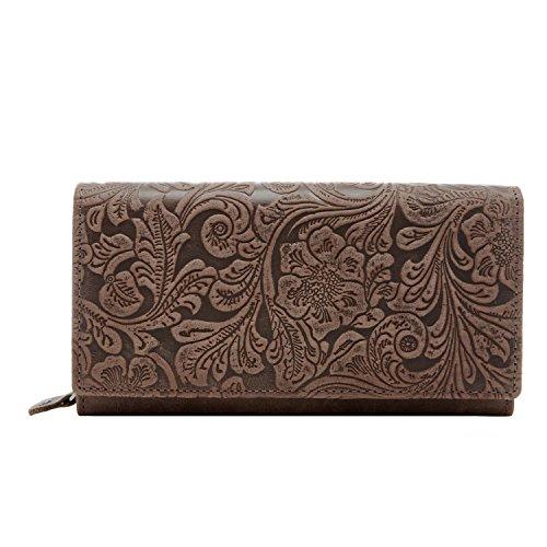 Genuine Leather Wallets Women Accordion