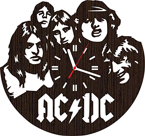Wooden wall clock AC DC gifts for men women him her mom dad grandpa grandma home decorations art collectibles fans stuff merchandise accessories band rock and roll vinyl music poster - T-shirt Rock Legend