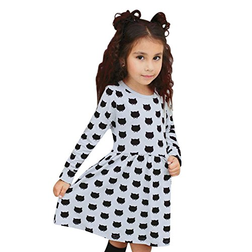 Chinatera Little Girls' Cute Long Sleeve Cat Dotted Cotton Princess Tutu Dress (120:115-125cm for 6-7Y)