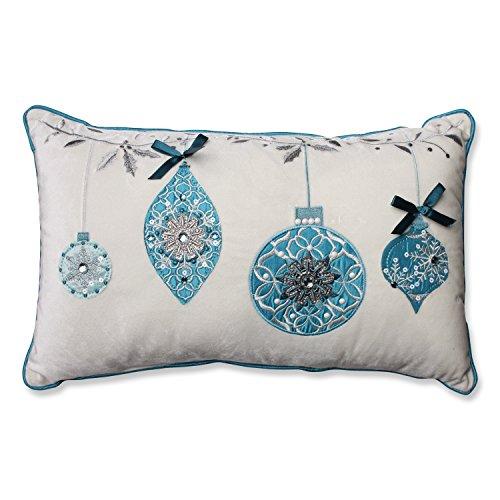Pillow Perfect Blue Ornaments Velvet Rectangular Throw Pillow, White