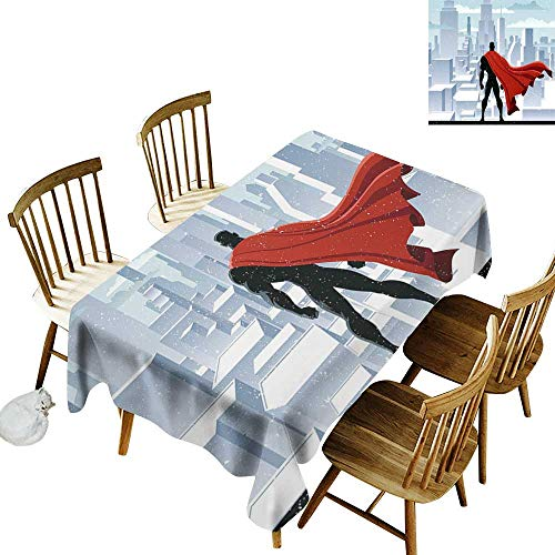 Superhero Rectangular tablecloths in a variety of colors and sizes Can be used for parties Hero Watching over City in Snowy Winter Savior Justice Urban Design W14 x L108 Inch Pale Blue Orange Black ()