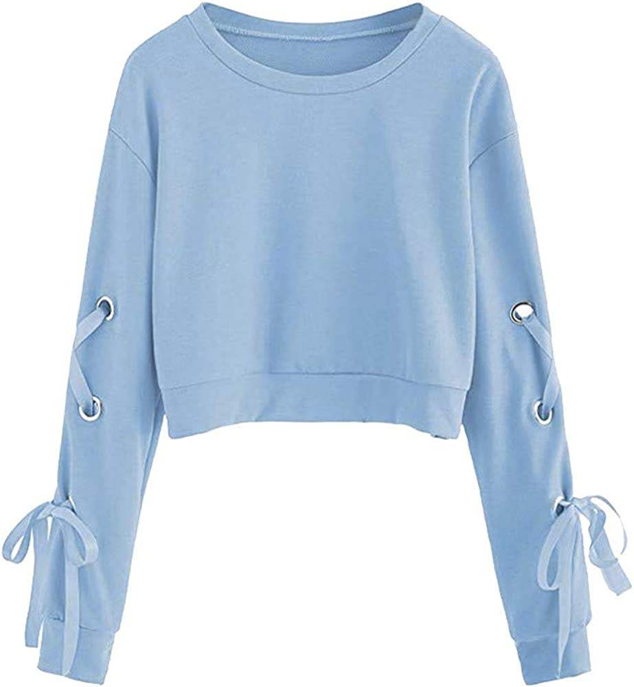 Boxinay Womens Casual Lace Up Long Sleeve Pullover Crop Top Sweatshirts Criss Cross Plain Sweaters Shirts