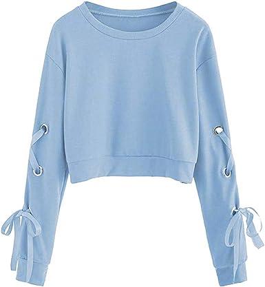 Fossen Mujer Sudaderas Cortas 2020 Otoño Invierno Blusas con Manga Larga con Cordones Camiseta para Adolescentes Chicas: Amazon.es: Ropa y accesorios