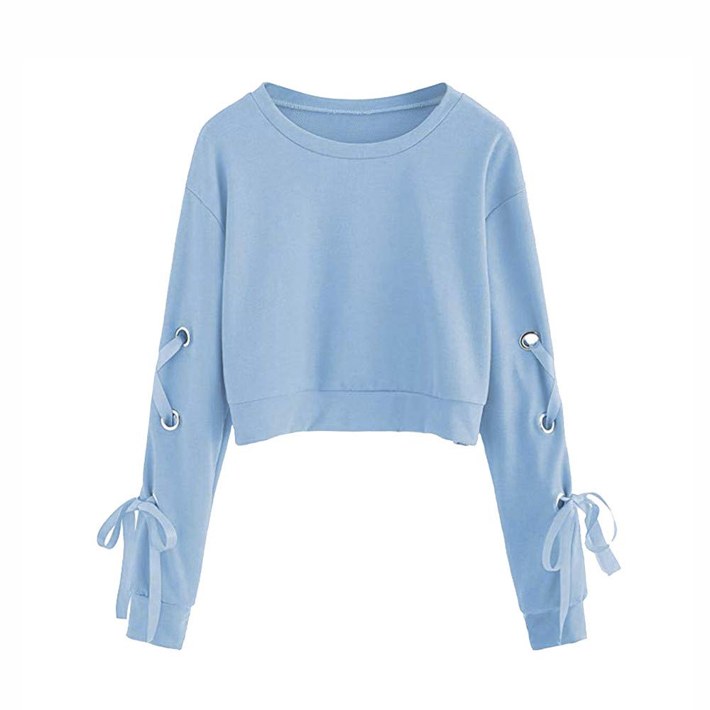 QIUUE Women Cropped Sweater Casual Lace up Long Sleeve Pullover Top Solid Color Sports Sweater Sweatshirt Sky Blue by QIUUE
