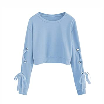 c8f42c8b1c996b Frauen Sweatshirt,Teenage Mädchen Casual Lace Up Langarm Pullover Crop Top  Moginp (S,