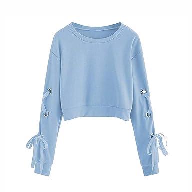 a4d08590d9f62 LuckyGirls Mode Femmes Nouveau Automne Sweat-Shirt Court Femme Pull Manche  Longue Top Crop Casual avec Bander Couleur Unie Col Rond à Sweatshirt 2XL   ...