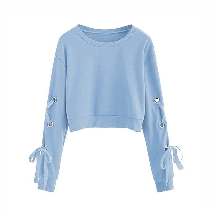 Fossen Mujer Sudaderas Cortas 2031 Otoño e Invierno Blusas con Manga Larga con Cordones Camiseta para