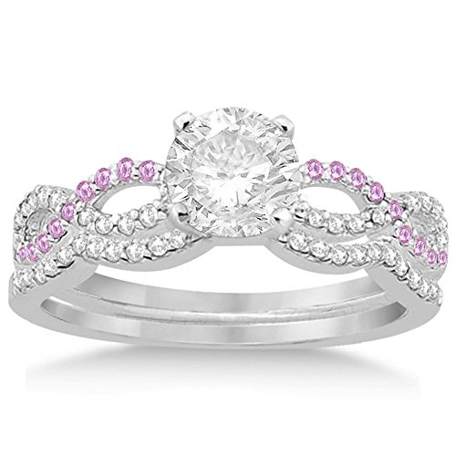 Infinity Diamond and Pink Sapphire Engagement Ring and Diamond Contour Wedding Band Platinum (0.34ct) -