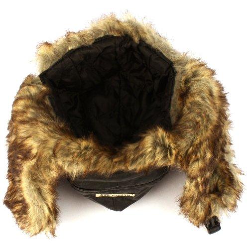 2187d26d4a3 Dakota Dan Trooper Faux Leather Ear Flap Cap w Faux Fur Lining Hat ...