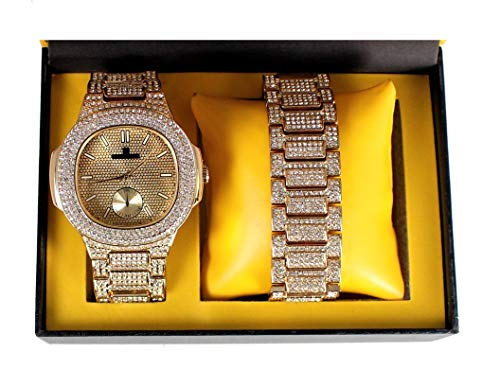 Bling-ed Out Oblong Case Metal Mens Watch w/Matching Bling-ed Out Bracelet Gift Set - 8475B - Gold/Gold (Gucci Watch Case)