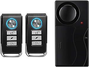Wsdcam Wireless Vibration Alarm with Remote Control Anti-Theft Alarm Door/Window/Bike/Motorcycle/Vehicle Security Alarm, 110db Loud, Door and Window Alarm with 2 Remotes