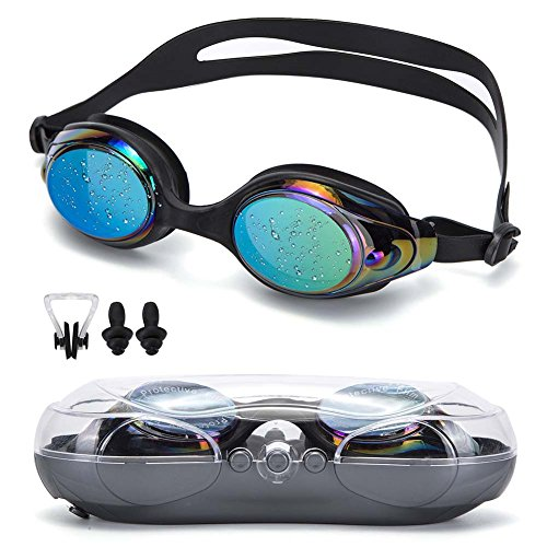 NGWALL Swimming Goggles Swim Goggles no Leakage Fog Anti-UV Free Nose Clip Earbuds Suitable for Men and Women Young Child Boy Girl Goggles