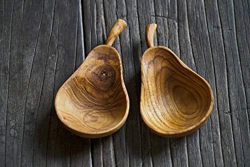 (Set of 2 Pear Fruit Shaped Teak Wood Dip Sauce Small Bowl Playful Cute Fruit Serving Platter)