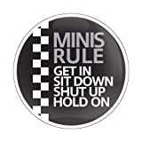 """MINI RULE 01 WHITE - 3"""" Magnetic Grill Badge / UV Stable & Weather-Proof / Works with GoBadges Grill Badge Holder"""