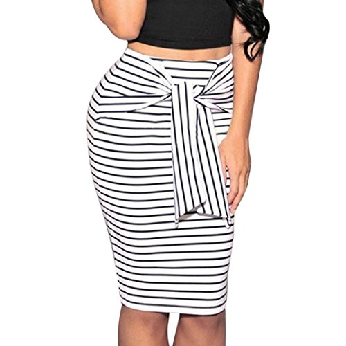Wool Top & Striped Skirt - FUNIC Women Skirt, Striped Skirt Sexy Slim Short Pencil Skirts Bow Tie Skirt (M, White)
