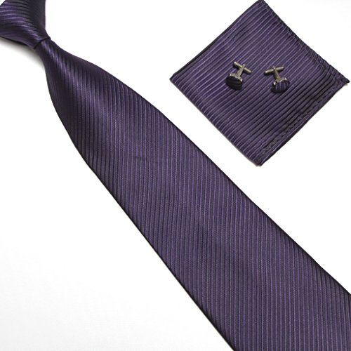 Stylefad Mens Tie Set Solid Color Striped Necktie Pocket Square and Cufflinks