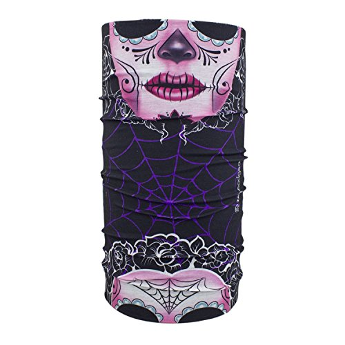 [Multi Function Head Wear Muerte Sugar Skull Day of Dead Face Mask Beanie Head Wrap] (Catrina Sugar Skull Costume)