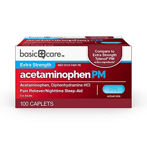 Basic Care Extra Strength Acetaminophen PM Caplets, 100 Count by Basic Care