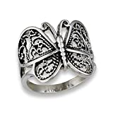 Butterfly Heart Filigree Wings Ring New Stainless Steel Animal Band Size 9