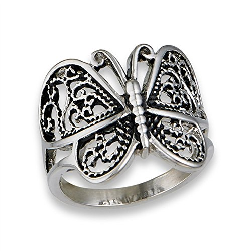 Butterfly Heart Filigree Wings Ring New Stainless Steel Animal Band Size 7 ()
