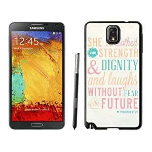 Samsung Galaxy Note 3 Case Soft Silicone Black Phone Back Cover Bible Quote Proverbs 31 25 She Is Clothed in Strength and Dignity and She Laughts Without Fear of the Future