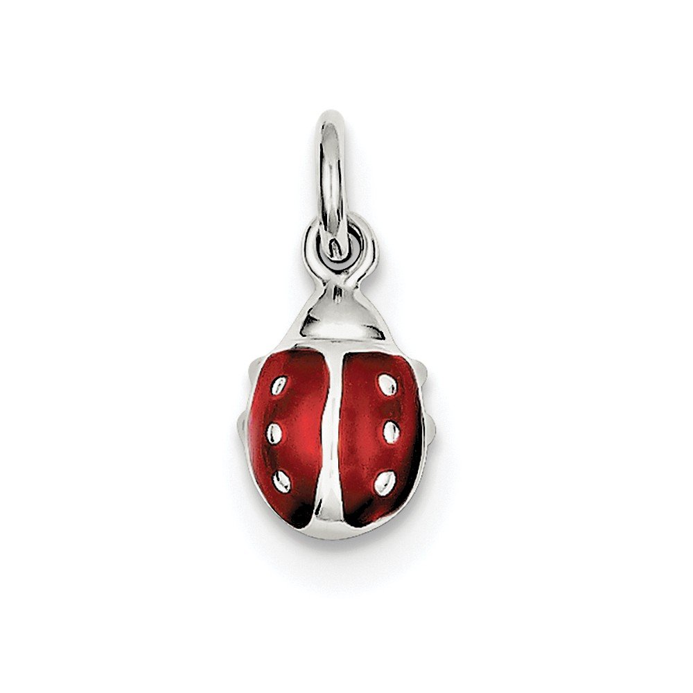 Sterling Silver Anti-Tarnish Treated Enameled Red Ladybug Charm on an Adjustable Chain Necklace