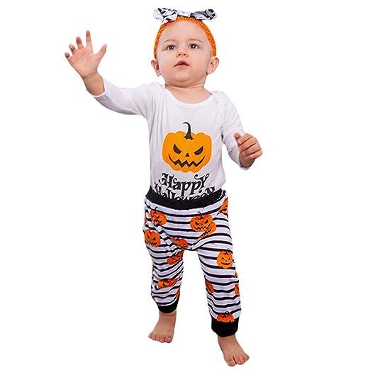POLP Niño-Halloween Bebe Invierno Disfraz Calabaza Disfraces de Disfraces de Halloween para Niño pequeño bebé niñas niños Carta Pantalones de Mameluco ...