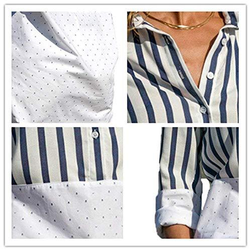 Shirt Printemps Dame Haut Elgante Femme Longue Confortable Revers Mode Blouse Automne Manches Chemise Large Chic Branch Manche Loisir Blanc Long BOLAWOO aUYExE