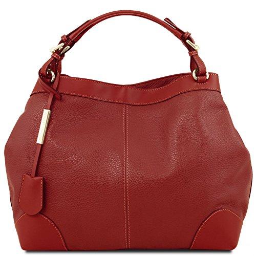 Tuscany Leather Ambrosia Borsa in pelle morbida con tracolla Rosso Lipstick Rosso