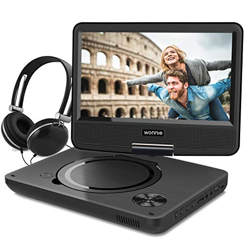WONNIE New 9.5 Inch Portable DVD Player with Swivel Screen, USB / SD Slot for Kids ( Black )