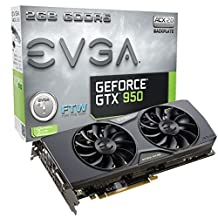 EVGA GeForce GTX 950 2GB FTW GAMING, Silent Cooling Graphics Card 02G-P4-2958-KR by EVGA