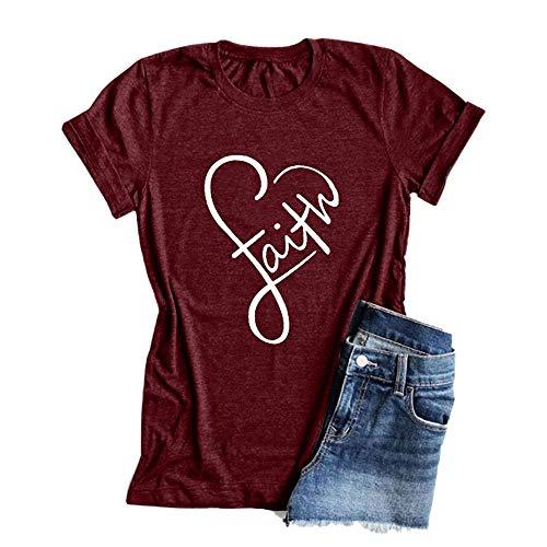 - Pukemark Women's Faith Print Summer Casual T-Shirt Short Sleeve Tees Tops Wine Red