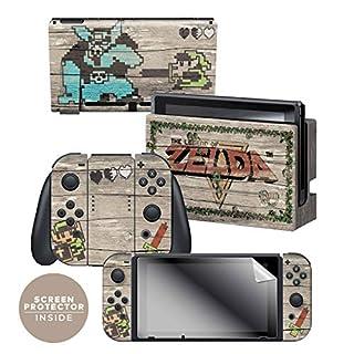 Controller Gear Officially Licensed Nintendo Switch Skin & Screen Protector Set - The Legend of Zelda - Retro Woodgrain - Nintendo Switch