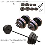 Gold's Gym Vinyl Weight Set, 100 lbs and Gold's Gym Vinyl Dumbbell Set, 40 lbs Bundle