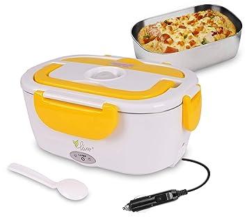 Fiambrera eléctrica comida térmico Lunch Box Fiambreras bento Uso en coche eléctrica con Bandeja extraíble acero inoxidable Recipiente de comida térmico 12V ...