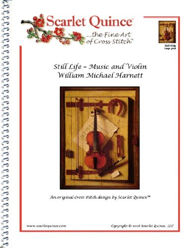 (Scarlet Quince HAR003lg Still Life - Violin and Music by William Michael Harnett Counted Cross Stitch Chart, Large Size Symbols)