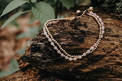 Changnoi Rose Quartz Brass Bead Chain Women's Anklet Bracelet, Boho Anklet, Bohemian Anklet, Hippie Anklet, Fair Trade Gift for Her