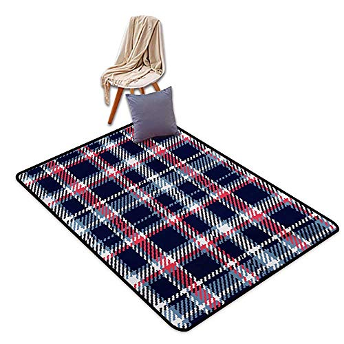 Checkered Entrance Door mat Retro Plaid Pattern Geometrical Pixelated Seem Mosaic Design Water Absorption, Anti-Skid and Oil Proof 55