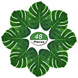 Soyee 48pcs Tropical Large Palm Leaves, DIY Waterproof Artificial Leaf Placemats Table Runners Hawaiian Luau Party Decoration, Jungle Party Supply