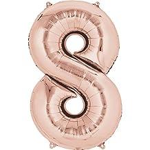 "1 x Anagram Rose Gold 8 Foil Balloon Shape 21"" x 34""/53 cm x 86 cm"