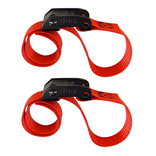 (CINCH STRAP 1 INCH x 2 FOOT CAM RED 2 PACK (Bungee Cord Alternative))