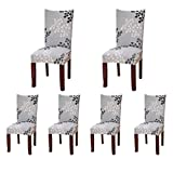 6 x Soft Spandex Fit Stretch Short Dining Room Chair Covers with Printed Pattern, Banquet Chair Seat Protector Slipcover for Hone Party Hotel Wedding Ceremony (B)