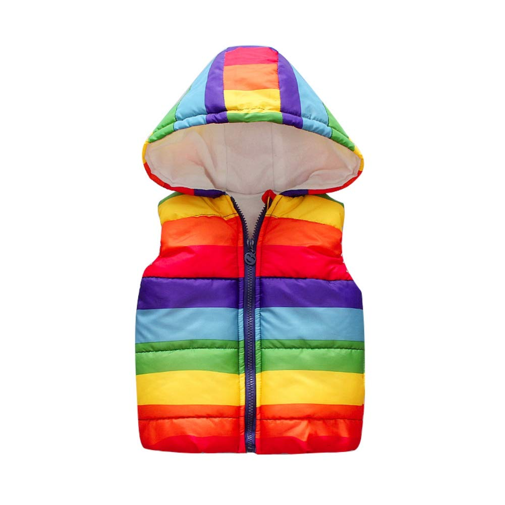 BOBORA Baby Girls Boys Warm Waistcoat Kids Rainbow Striped Hooded Zipper Closure Thick Gilet Vest Coats Outwear Clothing for 0-5Years BO-UK967