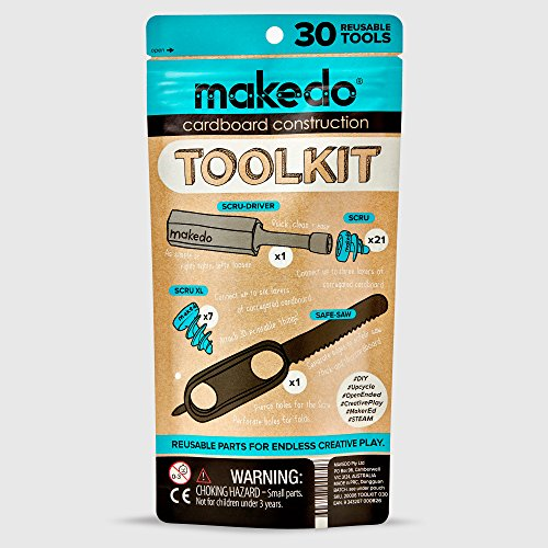 Makedo Cardboard Construction Toolkit, Includes 30 Kid-Friendly Reusable Tools, Perfect for Classroom STEM, STEAM Learning and at-Home Play for Kids Age -
