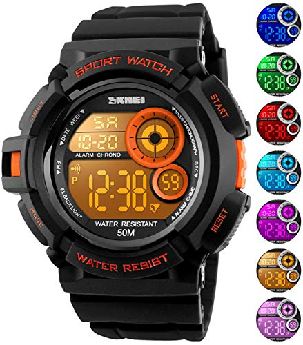 (Mens Military Multifunction Digital Watches 50M Water Resistant Electronic 7 Color LED Backlight Black Sports Watch)