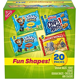 Nabisco Fun Shapes Variety Pack Barnum's Animal Crackers, Teddy Grahams and CHIPS AHOY! Mini, Halloween Treats, 20 - 1 oz Packs