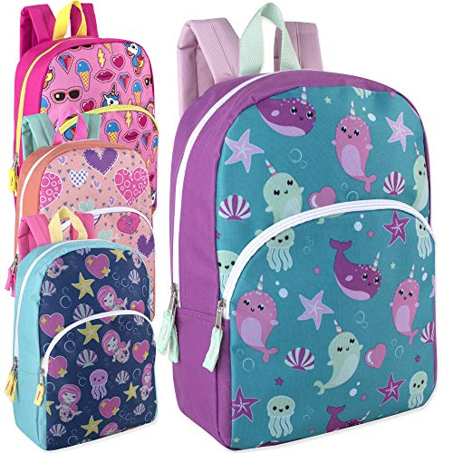 (Wholesale Boys & Girls Character and Animal Backpacks with Adjustable, Padded Back Straps in Bulk, 24 Cases Per Bundle (Girls))